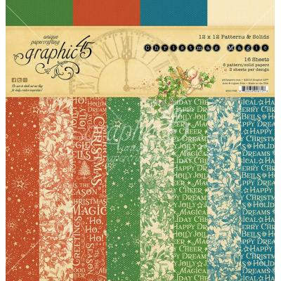 Graphic 45 Christmas Magic - Christmas Magic Patterns & Solids Paper Pad