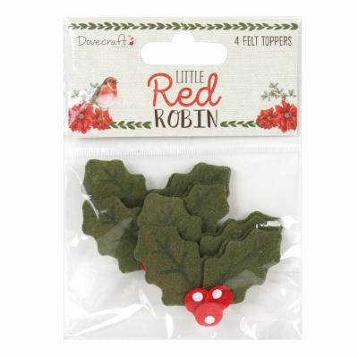 Dovecraft Little Red Robin -Felt Toppers Holly