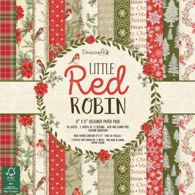Dovecraft Little Red Robin - 8x8 Inch Paper Pack