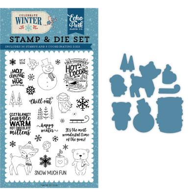 Echo Park Clear Stamps und Outline-StanzenCelebrate Winter - Happy Winter