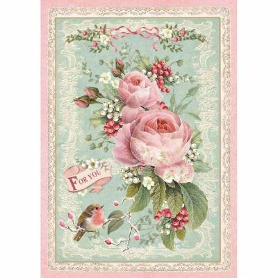 Stamperia Rice Paper A4 - Pink Christmas Rose