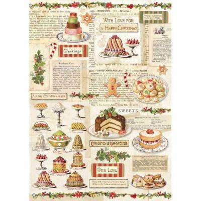 Stamperia Rice Paper A4 - Christmas Vintage Patisserie