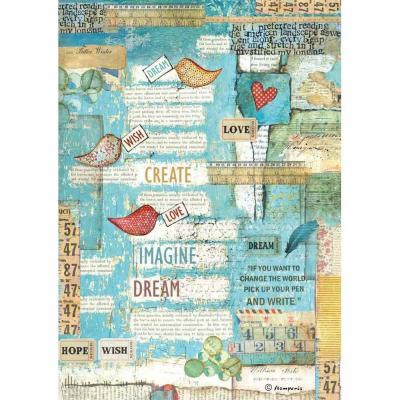 Stamperia Rice Paper A4 - Patchwork Writings Little Birds & Hearts