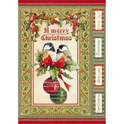 Stamperia Rice Paper A4 Christmas Vintage Birds & Shperes