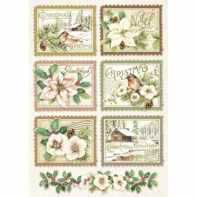Stamperia Rice Paper A4 Winter Botanic Stamps