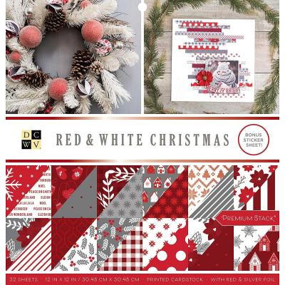 American Crafts DCWV Designpapier - Red & White