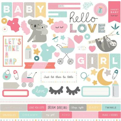 PhotoPlay Stickerbogen 12x12 Inch - Snuggle Up Girl