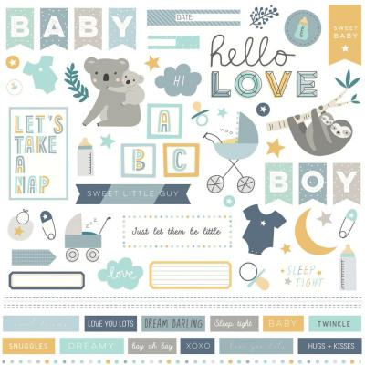 PhotoPlay Stickerbogen 12x12 Inch - Snuggle Up Boy