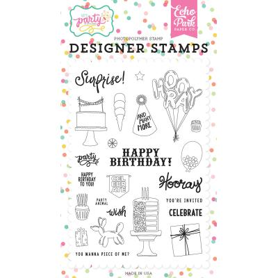 Echo Park Clear Stamps - Let's Party - Party Animal