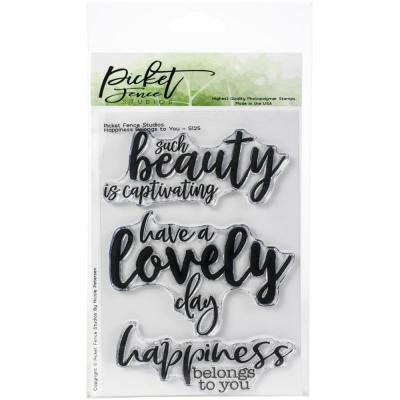 Picket Fence Studios Clearstamps - Happiness Belongs To You