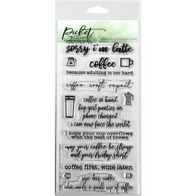 Picket Fence Studios Clearstamps - Coffee In Hand