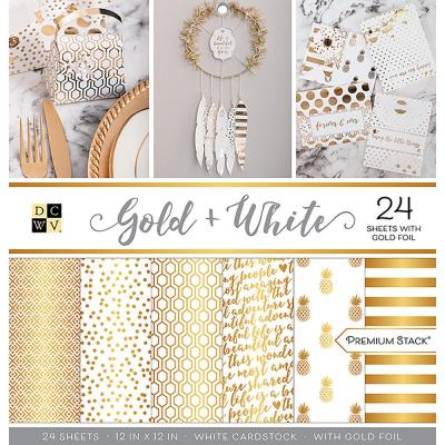 DCWV Paperpad 12x12 - Gold & White