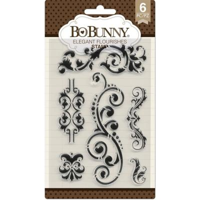 BoBunny Clear Stamps - Butterfly Kisses-Elegant Flourishes
