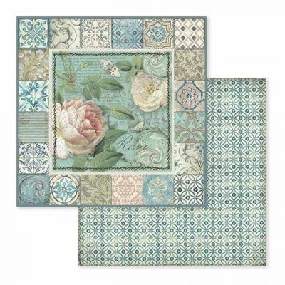 Stamperia Tile - Frame with Rose