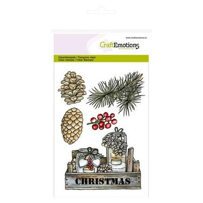 CraftEmotions Clearstamps - Kiste, Dekorationen Home for Christmas