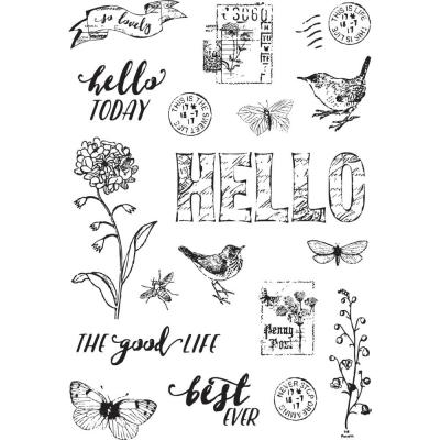 Simple Stories Clear Stamps Vintage Botanicals - Love Life