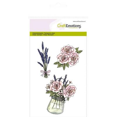 CraftEmotions Clear Stamp - Topf mit Rosen