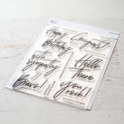 Pinkfresh Pinkfresh Studio Clearstamps -  Scripted Bold Sentiments 2Stanzschablonen -