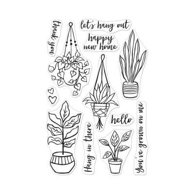 Hero Art Clearstamps - Hang In There Potted Plants