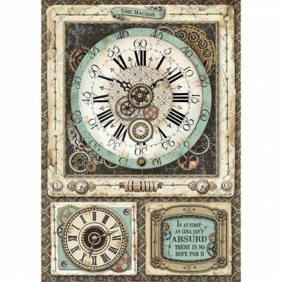 Stamperia Rice Paper A4 -  Voyages Fantastiques Clock