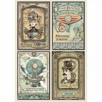 Stamperia Rice Paper A4 -  Voyages Fantastiques Cards
