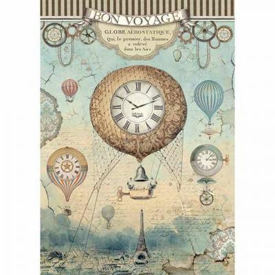 Stamperia Rice Paper A4 - Voyages Fantastiques Balloon