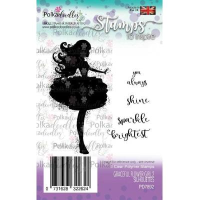 Polkadoodles Clear Stamps - Graceful Flower Girl 2 Silhouettes