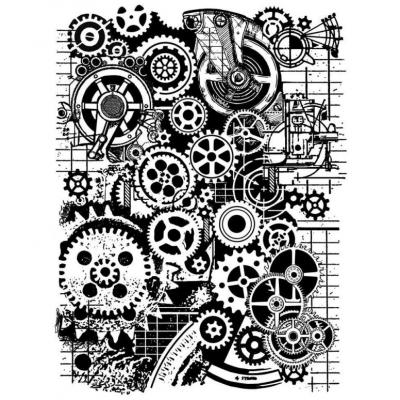 Stamperal Natural Rubber Stamp - Mixed Media Gears