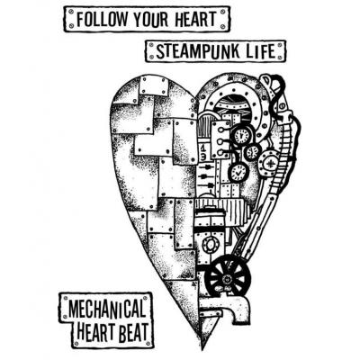Stamperal Natural Rubber Stamp - Mechanical Heart