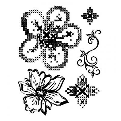 Viva Decor Clear Stamps - Kreuzstich Blumen