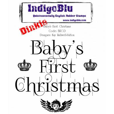 IndigoBlu Rubber Stamp A7 - Baby's First Christmas