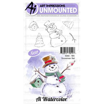 Art Impressions Watercolor - Cling Stamps - Snowman