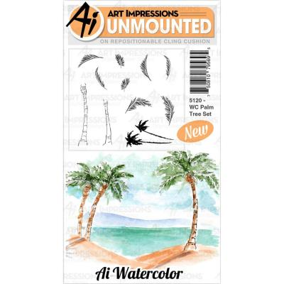 Art Impressions Watercolor - Cling Stamps -Palm Tree