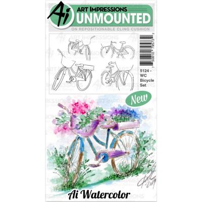Art Impressions Watercolor - Cling Stamps - Bicycle