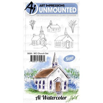 Art Impressions Watercolor - Cling Stamps - Church