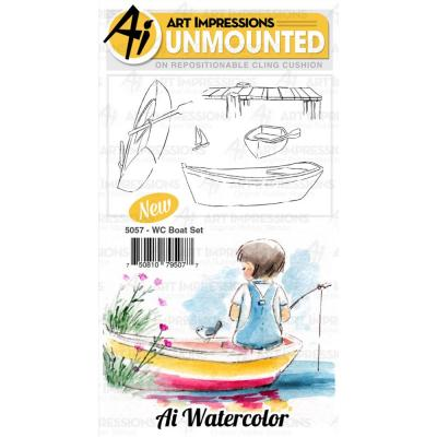Art Impressions Watercolor - Cling Stamps - Boat