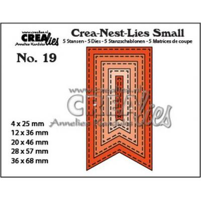 Crealies Stanzschablonen - Small Fishtail Banner Sticklinien
