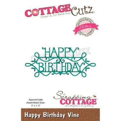 CottageCutz Stanzschablone - Happy Birthday Vine