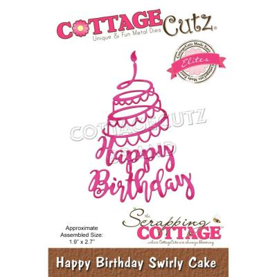 CottageCutz Stanzschablone - Happy Birthday Swirly Cake