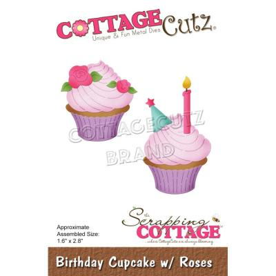 CottageCutz Stanzschablonen - Birthday Cupcake With Roses