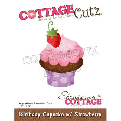 CottageCutz Stanzschablonen -  Birthday Cupcake With Strawberry