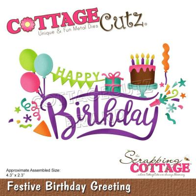 CottageCutz Stanzschablonen - Festive Birthday Greeting