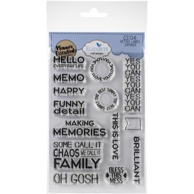 Elizabeth Craft Clear Stamps - Retro Labels Sayings