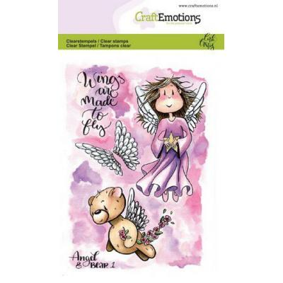 CraftEmotions Clear Stamps - Angel & Bear 1