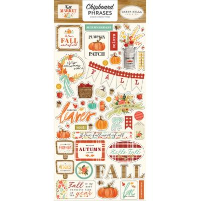 Carta Bella Fall Market Die Cuts - Chipboard Phrases