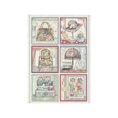 Stamperia Rice Paper - Grand Hotel Cards