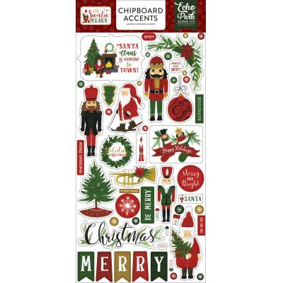 Echo Park Here Comes Santa Claus Die Cuts - Chipboard Accents