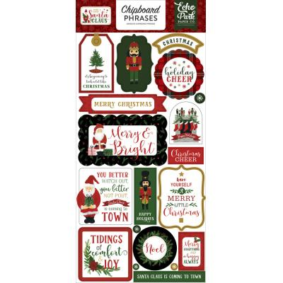 Echo Park Here Comes Santa Claus Die Cuts - Chipboard Phrases