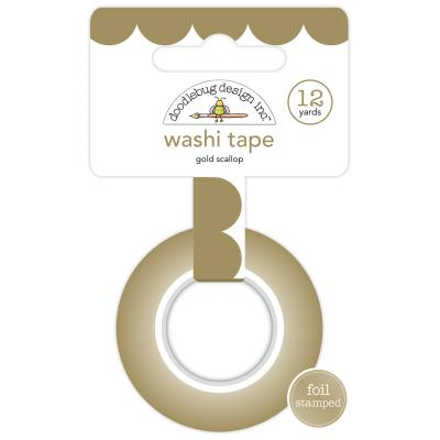 Doodlebug Hello Washi Tape - Gold Scallop