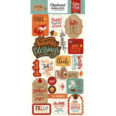 Echo Park Celebrate Autumn - Chipboard Phrases